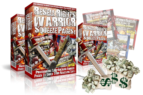 Product picture Resell Rights Warrior Squeeze Pages MRR Package